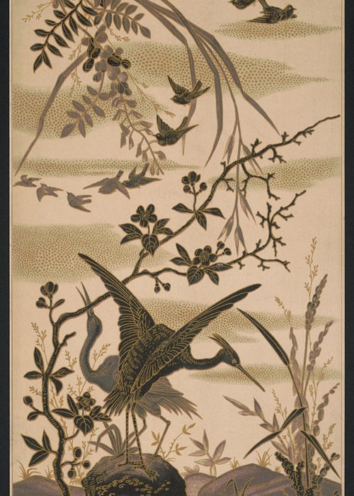 Crane Greeting Card featuring the pyrography Cranes And Birds At Pond 1880 by Daniel Hagerman