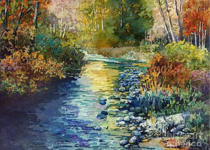 Creek Greeting Card featuring the painting Creekside Tranquility by Hailey E Herrera