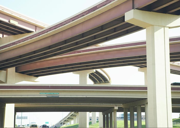 Crisscross Greeting Card featuring the photograph Crisscrossing Freeway Overpasses by Siri Stafford