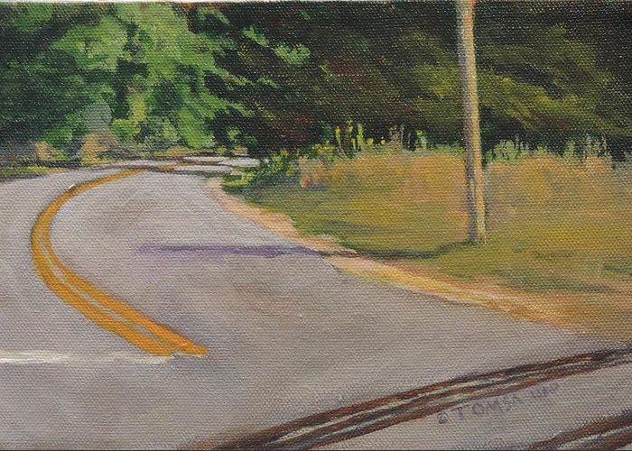 Crossing At Cathance Road Greeting Card featuring the painting Crossing At Cathance Road by Bill Tomsa