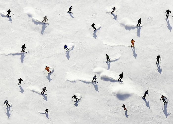 Skiing Greeting Card featuring the photograph Crowded Holiday by Mistikas