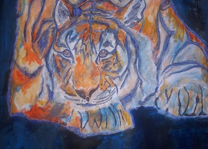 Tiger Greeting Card featuring the mixed media Crush by Crystal Hubbard