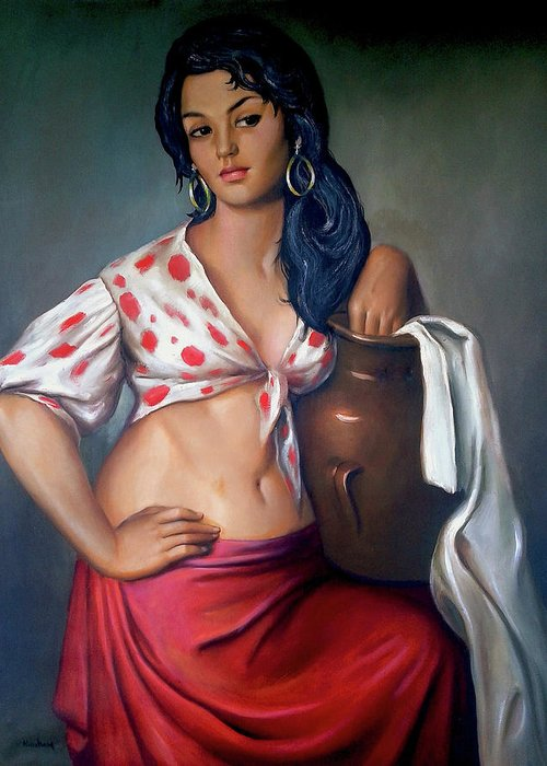 Lady Greeting Card featuring the painting Cuban Girl by Jose Manuel Abraham