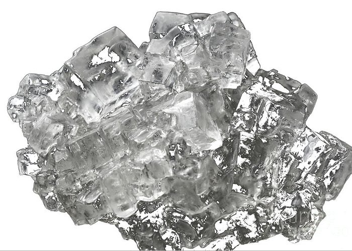 Isolated Greeting Card featuring the photograph Cubic Salt Crystal Aggregate by Frank Heinz