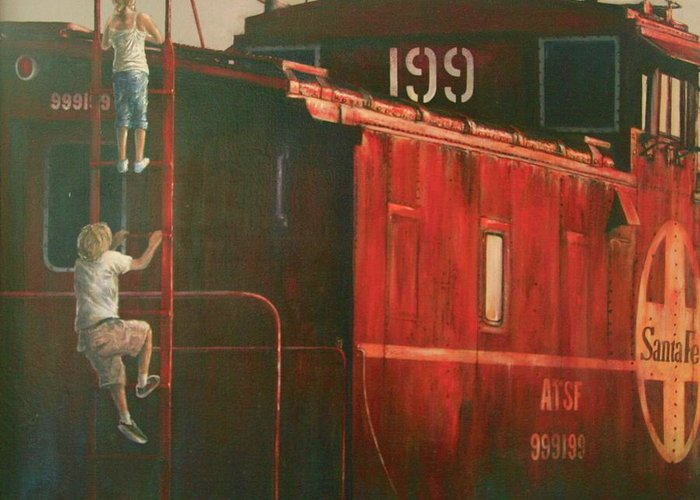 Train Greeting Card featuring the painting Curiosity by David Cannon