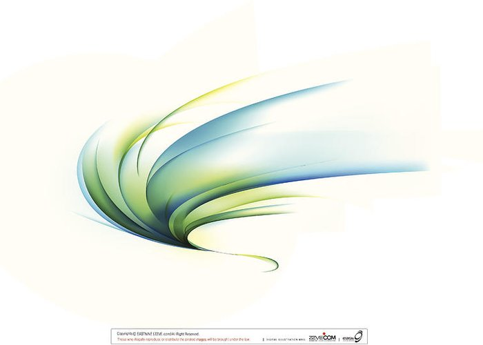 Curve Greeting Card featuring the digital art Curved Shape On White Background by Eastnine Inc.