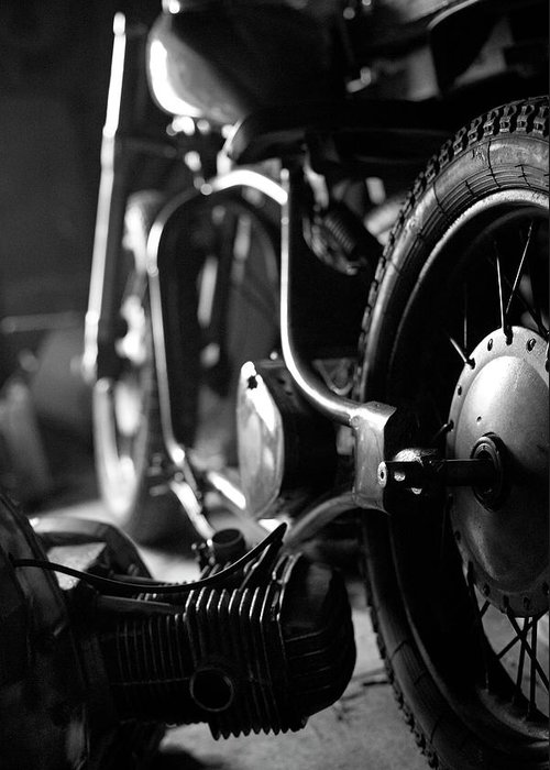 Engine Greeting Card featuring the photograph Custom Motorcycle by Alexey Bubryak