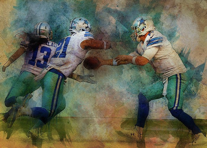 Dallas Cowboys Greeting Card featuring the digital art Dallas Cowboys. by Nadezhda Zhuravleva
