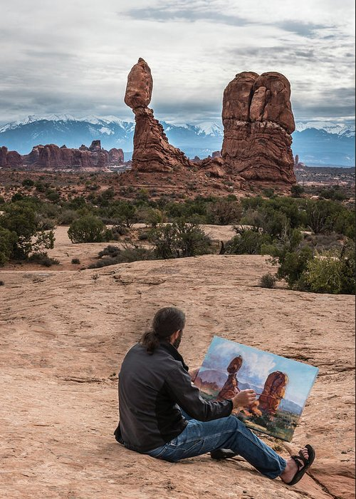 Daniel Greeting Card featuring the photograph Daniel Paints Balanced Rock by William Christiansen