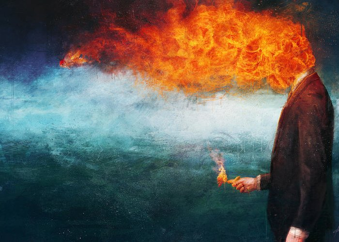 Fire Greeting Card featuring the painting Deep by Mario Sanchez Nevado