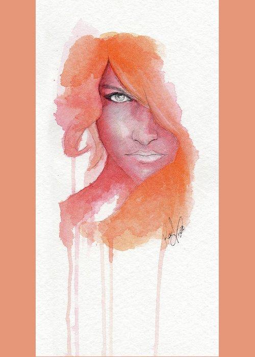 Face Greeting Card featuring the painting Deep Orange by Raffaello Saverio Padelletti