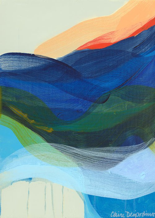 Abstract Greeting Card featuring the painting Deep Sleep Undone by Claire Desjardins