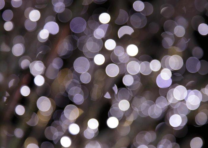 Funky Greeting Card featuring the photograph Defocused Purple Light Dots by Sebastian-julian