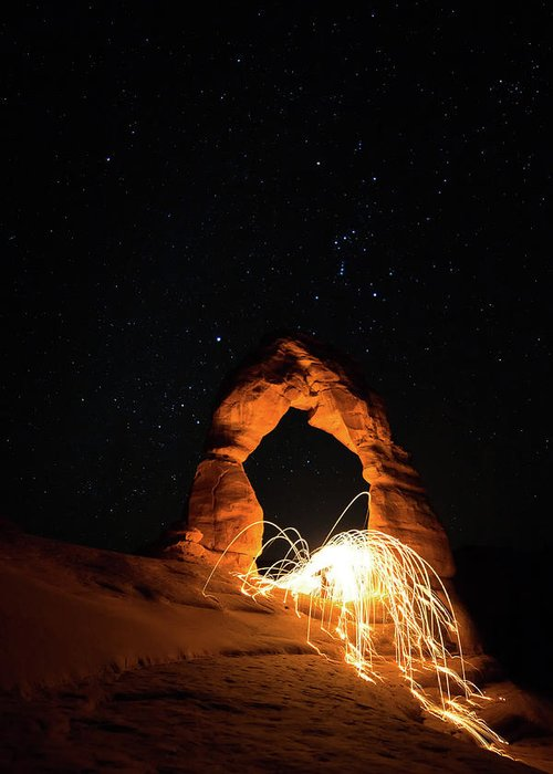 Delicate Arch Greeting Card featuring the photograph Delicate Arch Steel Wool by Nathan Bush