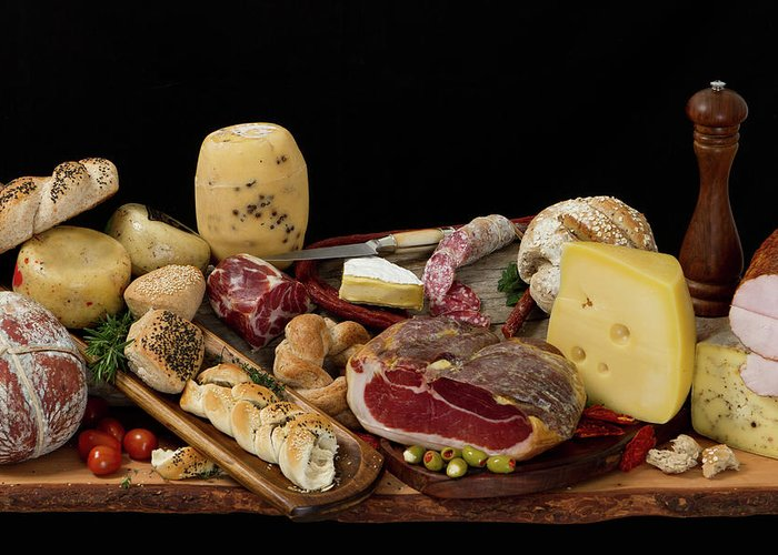 Cheese Greeting Card featuring the photograph Delicious Typical Argentinean Antipasto by Ruizluquepaz