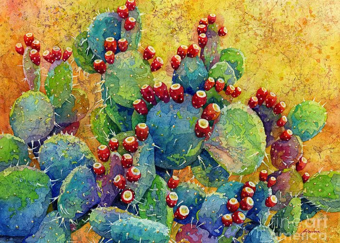 Cactus Greeting Card featuring the painting Desert Gems by Hailey E Herrera