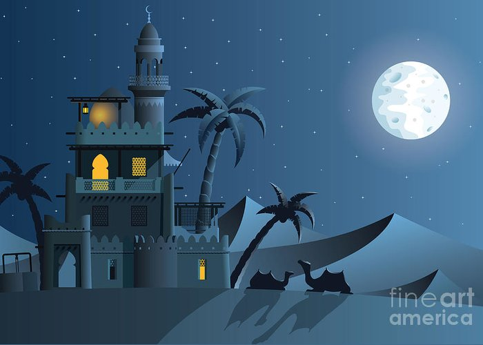 Iranian Greeting Card featuring the digital art Desert Oasis In The Night by Nikola Knezevic
