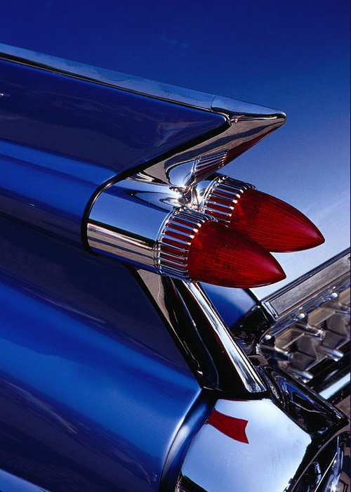 Silver Colored Greeting Card featuring the photograph Detail Of An American Cadillac, Eze by Richard I'anson