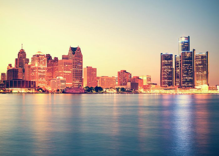 Downtown District Greeting Card featuring the photograph Detroit At Sunset by Espiegle