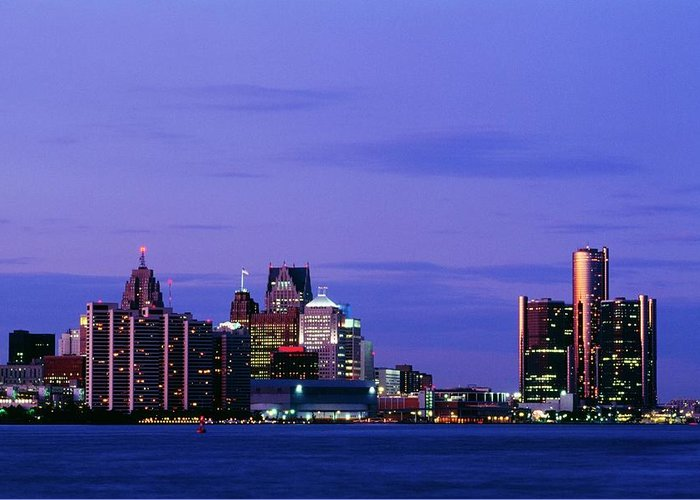Downtown District Greeting Card featuring the photograph Detroit Skyline At Night In Usa by Design Pics