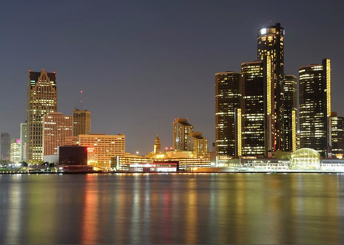Downtown District Greeting Card featuring the photograph Detroit Skyline At Night by Rivernorthphotography