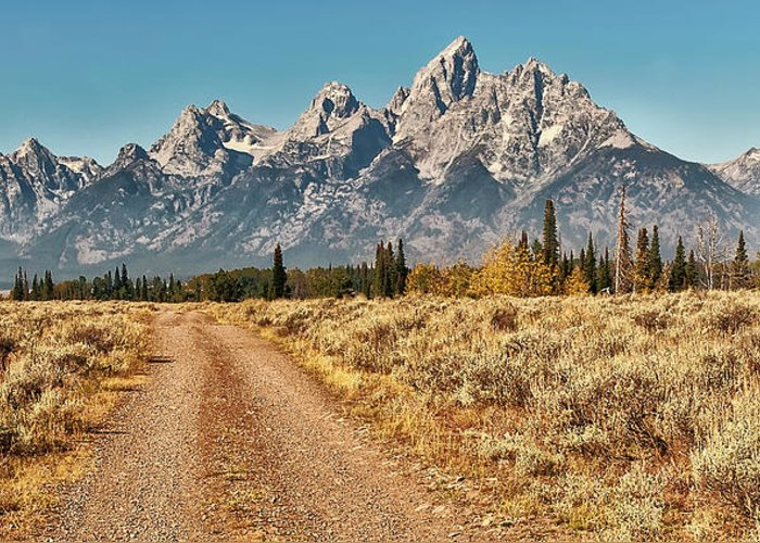 Tranquility Greeting Card featuring the photograph Dirt Road To Tetons by Jeff R Clow