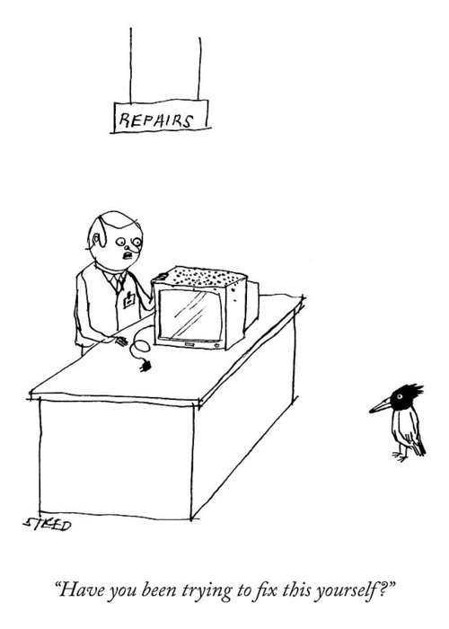 """""""have You Been Trying To Fix This Yourself?"""" Television Greeting Card featuring the drawing Do It Yourself Television Repair by Edward Steed"""