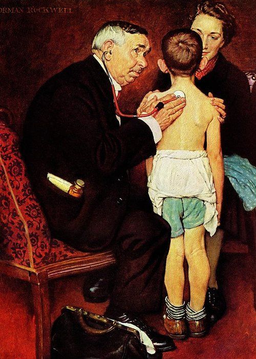 Doctor Greeting Card featuring the drawing Doc Melhorn And The Pearly Gates by Norman Rockwell