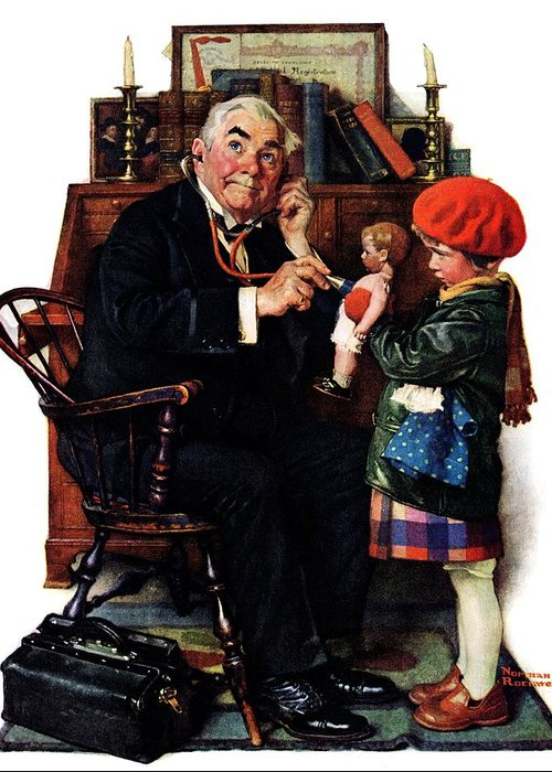 Doctors Greeting Card featuring the drawing Doctor And The Doll by Norman Rockwell