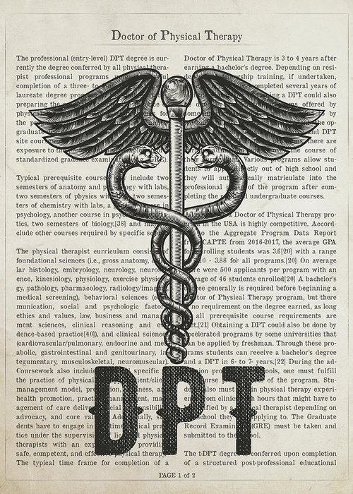 Dpt Greeting Card featuring the digital art Doctor Of Physical Therapy Gift Idea With Caduceus Illustration by Aged Pixel