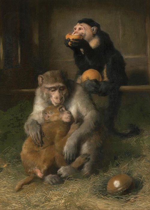 Sir Edwin Henry Landseer Greeting Card featuring the painting Doctor's Visit To Poor Relations At The Zoological Gardens by MotionAge Designs