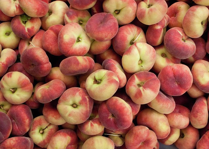 Retail Greeting Card featuring the photograph Donut Peaches At A Farmers Market by Bill Boch
