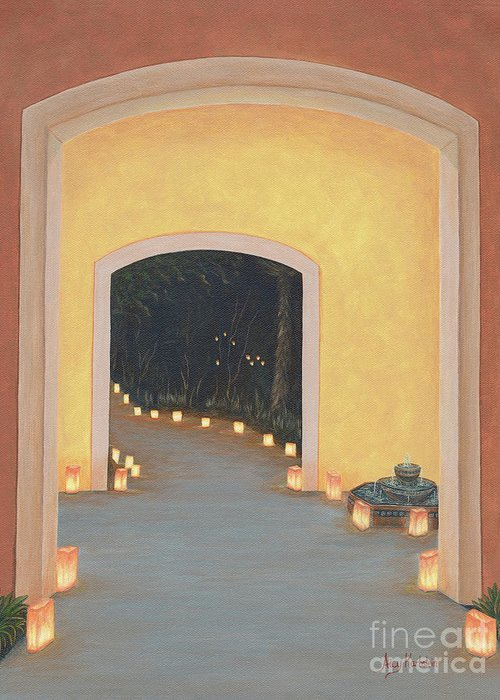 New Greeting Card featuring the painting Doorway to the Festival of Lights by Aicy Karbstein