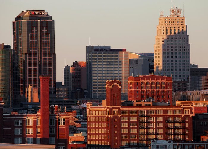 Downtown District Greeting Card featuring the photograph Downtown Kansas City by Eric Bowers Photo