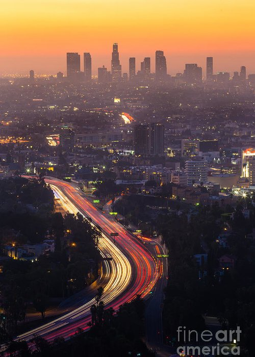 Freeway Greeting Card featuring the photograph Downtown Los Angeles Skyline At by F11photo