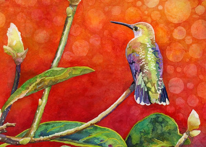 Hummingbird Greeting Card featuring the painting Dreamy Hummer by Hailey E Herrera