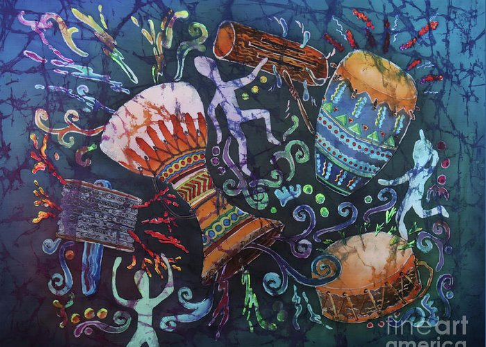 Drums Greeting Card featuring the painting Drumbeat by Sue Duda