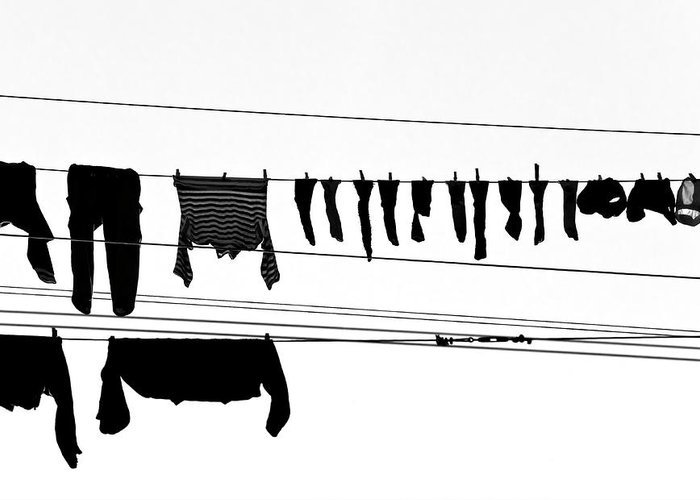 Hanging Greeting Card featuring the photograph Drying Laundry On Two Clothesline by Massimo Strazzeri Photography