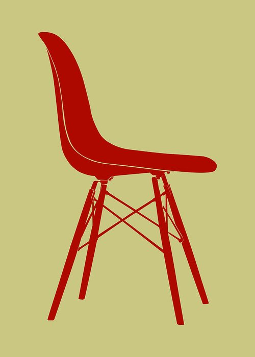 Mid-century Greeting Card featuring the digital art Eames Plastic Side Chair II by Naxart Studio