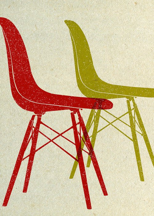 Mid-century Greeting Card featuring the digital art Eames Plastic Side Chairs I by Naxart Studio