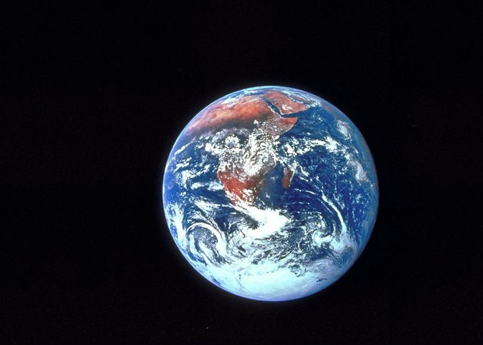 Globe Greeting Card featuring the photograph Earth From Outer Space by Ablestock.com