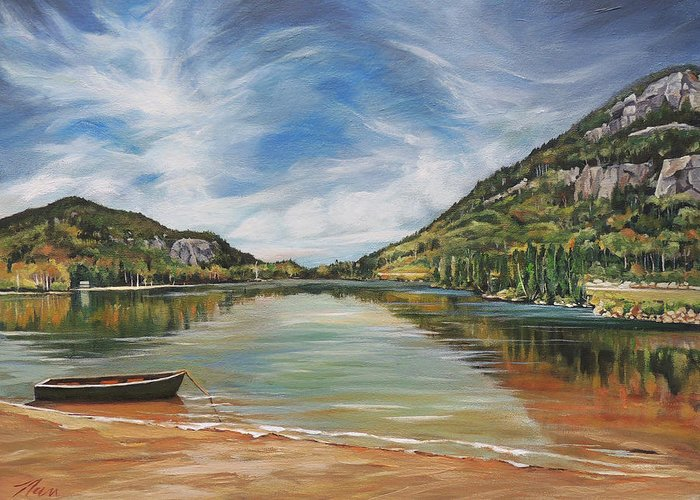 Echo Lake Greeting Card featuring the painting Echo Lake in Franconia Notch New Hampshire by Nancy Griswold