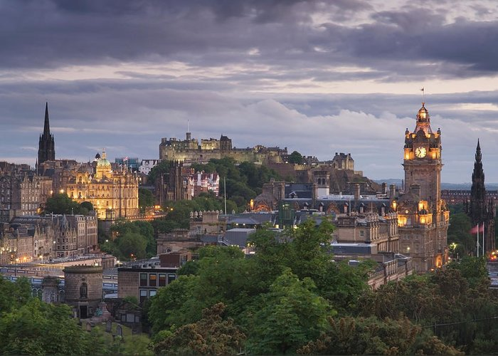 Lothian Greeting Card featuring the photograph Edinburgh At Dusk by Northlightimages