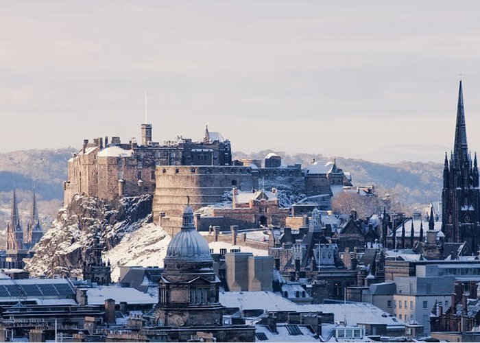 Snow Greeting Card featuring the photograph Edinburgh Castle by Davidhills