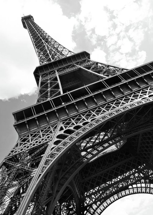 Black Color Greeting Card featuring the photograph Eiffel Tower In Black And White by Sarah8000