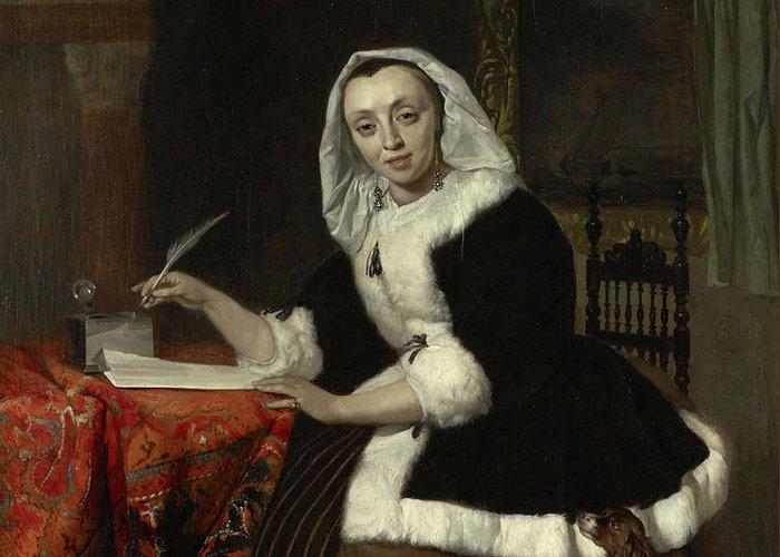 Gabriel Metsu Greeting Card featuring the painting Elegant Lady Writing At Her Desk by Gabriel Metsu