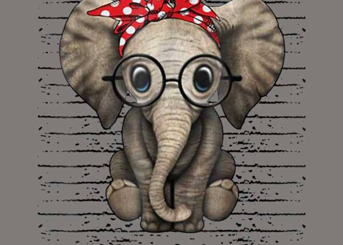 girls' Novelty Clothing Greeting Card featuring the digital art Elephants With Bandana Headband And Glasses Cute T-shirt by Unique Tees