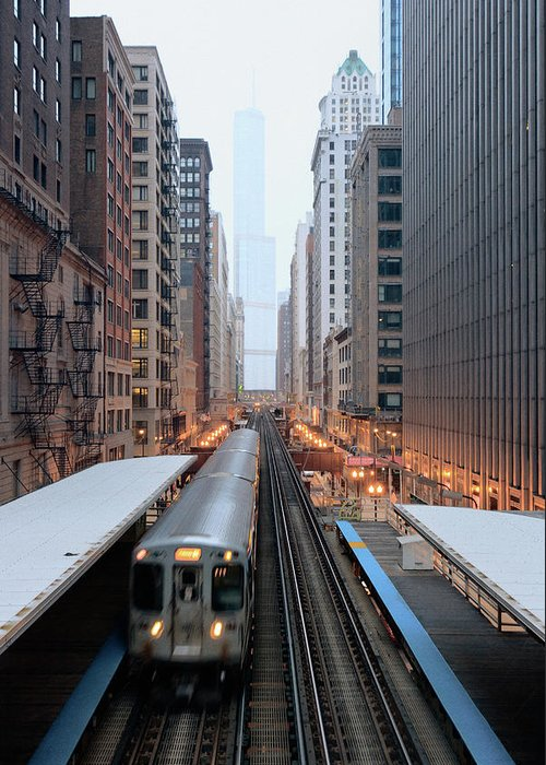 Downtown District Greeting Card featuring the photograph Elevated Commuter Train In Chicago Loop by Photo By John Crouch