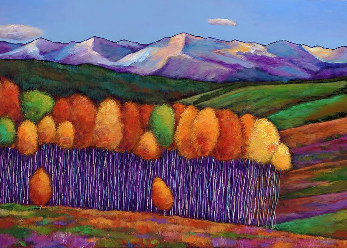 Aspen Trees Greeting Card featuring the painting Elysian by Johnathan Harris