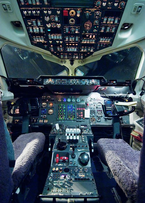 Cockpit Greeting Card featuring the photograph Empty Aeroplane Cockpit by Moodboard
